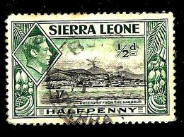SIERRA LEONE 158° 1/2p Vert Et Noir George VI Freetown Vu Du Port (10% De La Cote + 0,15) - Sierra Leone (...-1960)