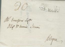 REGNO D'ITALIA NAPOLEONICO(BASSO PO) -PREFILATELICA FERRARA - BOLOGNA, 1809, CON TESTO, TASSATA Cent. 20 IN PARTENZA, - Italia