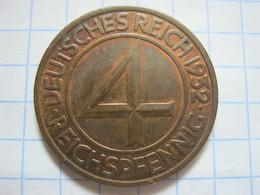4 Reichspfennig 1932 (A) - [ 3] 1918-1933 : Weimar Republic