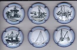SERIE COMPLETA DE 6 PLACAS DE CAVA DE BARCOS (CAPSULE) BARCO - SHIP - Placas De Cava