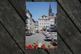 Carte Postale Ancienne Strasbourg Hôtel Restaurant Ortenberg Voitures Panhard 24, Dauphine, Peugeot 404, Simca, 2CV - Strasbourg