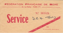 BOXE - 1965 TIQUET ENTREE GALA  A TOURS - Boxe