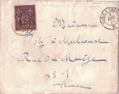 AISNE - CHATEAU-THIERRY - SAGE - N°91 25c NOIR SUR ROUGE - OBLITERATION AMBULANT - PARIS A CHALONS - VERSO MULHAUSEN - Marcophilie (Lettres)