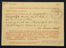 CP CROIX-ROUGE Genève Avis De Capture Soldat Du 8e R.A.C. Prisonnier De Guerre STALAG VI D Oct 1940 > LAURAC - Marcophilie (Lettres)