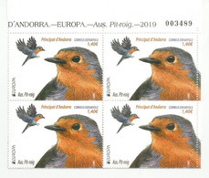 ANDORRA. Le Rouge-Gorge. (Petirrojo Europeo) Europa 2019, BLOC De 4 Neufs ** , Haute Faciale, Bord De Feuille - Andorra Española