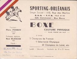 BOXE - CARTE DE VISITE - SPORTING ORLEANAIS - LOGO DE BOXEURS - PUBLICITE AU DOS CULTURE PHYSIQUE - Boxing