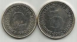 Yugoslavia 2 And 5 Dinara 1992.  KM#143-144 High Grade - Yugoslavia