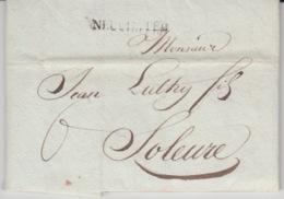 USED LETTER 21/07/1825 NEUCHATEL SOLEURE GRIFFE NEUCHATEL - ...-1845 Préphilatélie