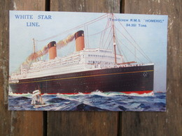 """CPA WHITE STAR LINE PAQUEBOT TWIN SCREW R.M.S """"HOMERIC"""" - Paquebots"""