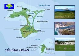 Chatham Islands Map New Zealand New Postcard Neuseeland Inseln Landkarte AK - Nuova Zelanda