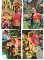 4 Cards - Indonesia - Bali - Beautiful Dancing Girl`s - Femme - Women - Indonésie