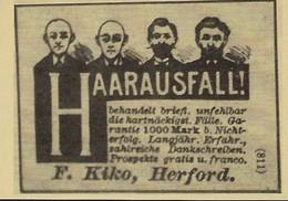 HAARAUSFALL  F.KIKO,HERFORD  2 Scans - Reklame