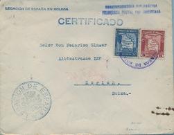 1935  BOLIVIA , SOBRE CERTIFICADO , CORREO CONSULAR , LEGACIÓN DE ESPAÑA EN BOLIVIA , FRANQUICIA POSTAL PANAMERICANA - Bolivia
