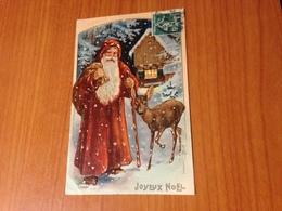 NOEL -  Le Pére Noel Et La Biche -  Carte Gaufrée  (port à Ma Charge ) - Christmas