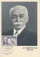 Carte  Maximum  1er  Jour    FRANCE    Baron   Pierre  DE  COUBERTIN    1956 - 1950-59