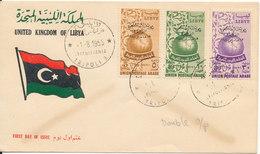 Libya FDC Cover 1-8-1955 Complete Set Overprinted Union Postale Arabe With Cachet - Libya