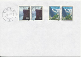 Norway Cover Oslo 13-7-1977 With 2 Pairs From Booklet - Norway