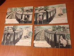 CHARTRES -4  Cartes Trains Humoristiques ( Port à Ma Charge ) - Chartres