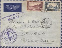 Poste Navale Sous-marin De 1ere Classe MONGE + Ccahet Ancre Marine Française Service à La Mer Guerre 39 45 - Marcophilie (Lettres)