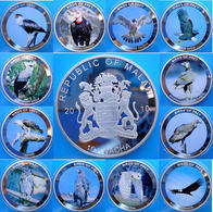 MALAWI AFRICA 12 COINS X 10 KWACHA 2010 PROOF SILVER PLATED GIANT COINS BIRDS OF PREY WEIGHT 49,6gX12 UNC. - Malawi