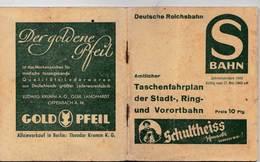Time Table Deutsche Reichbahn Taschenfahrplan 1943     112 P Pubs - Europe