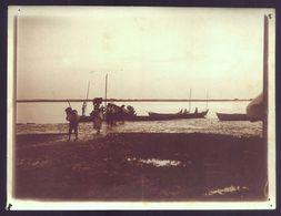 1900s Fotografia Antiga: PESCADORES Barco Mondego FIGUEIRA Da FOZ. Old Real Photo Sepia (Coimbra) PORTUGAL - Fotos