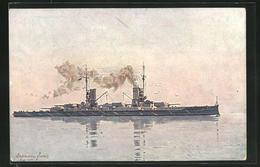 Künstler-AK Kriegsschiff S.M.S. Prinzregent Luitpold In Fahrt - Guerra