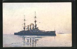Künstler-AK Kriegsschiff S.M.S. Schlesien Bei Spiegelglatter See - Guerra