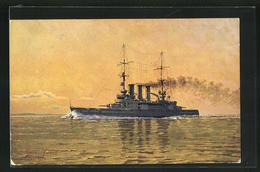 Künstler-AK Kriegsschiff S.M.S. Elsass Im Abendlicht - Guerra