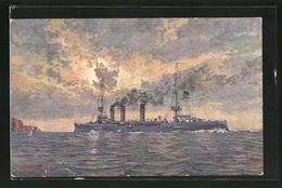 Künstler-AK Kriegsschiff S.M.S. Stettin Im Schwindenden Tageslicht - Guerra