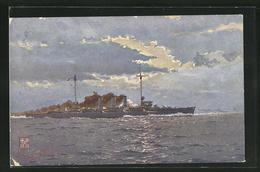 Künstler-AK Kriegsschiff S.M.S. Regensburg Im Schwindenden Tageslicht - Guerra