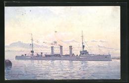 Künstler-AK Kriegsschiff S.M.S. Köln Im Abendlicht - Guerra