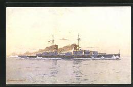 Künstler-AK Kriegsschiff S.M.S. Grosser Kurfürst In Voller Fahrt - Guerra
