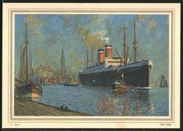 Künstler-AK Passagierschiff Albert Ballin Der Hamburg-Amerika Linie Beim Verlassen Eines Hafens - Piroscafi