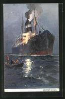 Künstler-AK Passagierschiff Gibt Lootsen-Signal - Piroscafi