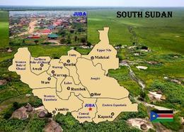 South Sudan Country Map New Postcard Südsudan Landkarte AK - Cartoline