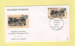 Polynesie - FDC Centenaire Du Premier Timbre - 1992 - Papeete - Timbre Sur Timbre - Lettres & Documents