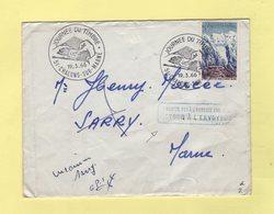 Lettre De La Journee Du Timbre De Chalons Sur Marne En Retour A L Envoyeur - 1966 - Postmark Collection (Covers)
