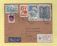 Destination Tchad - Paris - Recommande Par Avion - 1976 - Marcophilie (Lettres)