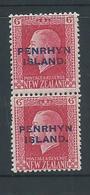Penrhyn Island 1917 KGV Overprints 6d Mixed Perforation Pair Fine MLH - Penrhyn