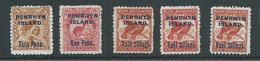 Penrhyn Island 1903 Overprints On NZ Pictorials Set 5 Including All Shades Of The 1 Shilling Bird Fine Mint - Penrhyn