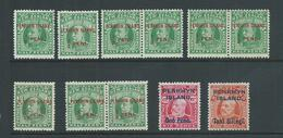 Penrhyn Island 1914 EVII Overprint Set Of 4 , 3 Extra Pairs Of 1/2d With No Stop Varieties All MLH - Penrhyn