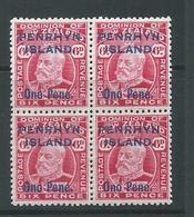 Penrhyn Island 1914 EVII Overprint 6d Carmine Fresh Block Of 4 MNH / MLH - Penrhyn