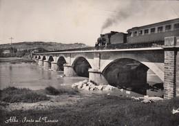 ALBA-CUNEO-PONTE SUL TANARO-PASSAGGIO TRENO FUMANTE-CARTOLINA VERA FOTOGRAFIA  NON VIAGGIATA-ANNO 1950-1955 - Cuneo