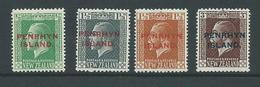 Penrhyn Island 1917 - 1920 KGV Overprints Set Of 4 MLH / MNH - Penrhyn