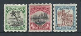 Penrhyn Island 1927 - 1929 Pictorials Set 3 MLH - Penrhyn