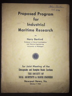 Naval Architecture - Proposed For Industrial Maritime Research Harry Benford - Forces Armées Américaines