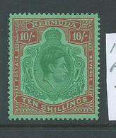 Bermuda 1938 - 53 KGVI 10 Shilling Perf. 13 MLH - Bermudas