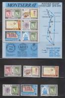Montserrat 1976 Postage Stamp Centenary Set 6 & Miniature Set MNH - Stamp On Stamp - Montserrat