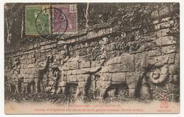 CPA - CAMBODGE - ANGKOR-THOM - Marche D'Eléphants Sur Les Murs De La Grande Terrasse (Hauts Reliefs) - Kambodscha